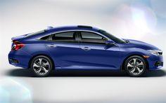 Download wallpapers Honda Civic, 2017, 4k, side view, exterior, blue Civic, sedan, Japanese cars, Honda