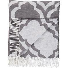Grey & White Fringed Blanket