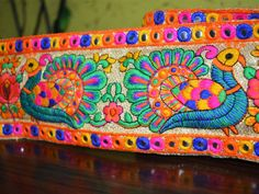 Sequin Trim – Peacock Embroidery Border - Multicolor trim. – a unique product by indianlacesandfabric on DaWanda