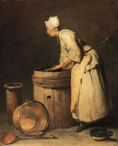The Scullery Maid by Jean-Baptiste-Siméon Chardin.  In great houses of the 18th Century, scullery maids were the lowest-ranked and usually the youngest of the female servants.  Over-worked, under-paid, they weren't even invited to dine with the rest of the staff.   ~LMB Caspar David Friedrich, Der Maler, Edouard Manet, Paul Cezanne, Georges Braque, Henri Matisse, Art Uk, Fine Art Paper, Figurative Art