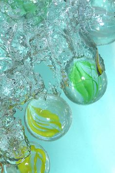 marbles in water