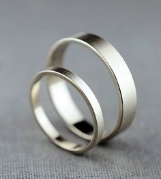 Couple's White Gold Wedding Bands | Here we have a simple pair of wedding bands, just right for th... | Rings
