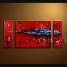 Colorful Modern Abstract Painting Hand-Painted Art Paintings For Bath Room Abstract. This 3 panels canvas wall art is hand painted by Bo Yi Art Studio, instock - $135. To see more, visit OilPaintingShops.com