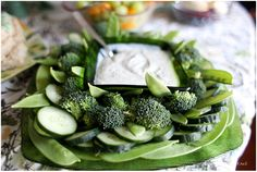 Veggies and dip.. would be good for St. Patrick's Day