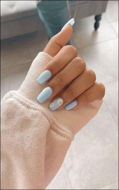 91 simple short acrylic summer nails designs for 2019 page 13 Nageldesign Nail Art Nagellack Nail Polish Nailart Nails Blue Acrylic Nails, Simple Acrylic Nails, Acrylic Nail Designs For Summer, Acrylic Nails Pastel, Acrylic Nails Coffin Short, Blue Nail Designs, Metallic Nails, Pastel Blue Nails, Colorful Nails