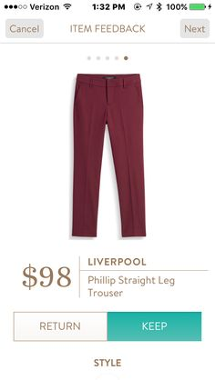 Would have kept if had discount. Like the fit and ankle length. Did not like slash pockets. Good Office pants- Returned