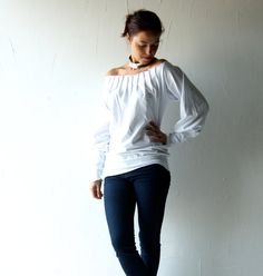 Winter clothing, White Blouse, Long sleeve shirt, Boho top, Cotton blouse, Jersey top, Long sleeve top, Medieval blouse, Off shoulder top
