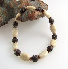 Micghigan stone beadwork stretchy bracelet copper firebrick, white river stone and copper