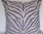 Purple Zebra Pillow Cover 18x18 or 20x20 or 22x22--Duralee Zebra Decorative Throw Pillow-- Accent Pillow.