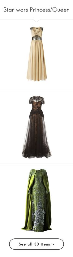 """""""Star wars Princess/Queen"""" by skyequake on Polyvore featuring dresses, gowns, vestidos, long dress, robes, sequin evening dresses, sheer dresses, sheer gown, v neck gown and v neck dress"""