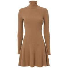 A.L.C. Women's Delia Turtleneck Rib Flare Dress ($445) ❤ liked on Polyvore featuring dresses, long sleeve dress, ribbed turtleneck, fit flare dress, fit and flare dress and beige dress