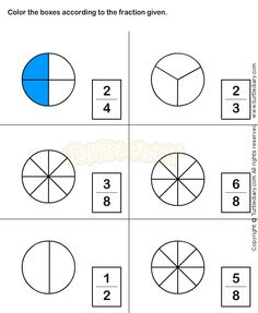 Color Figure to Represent Fraction Worksheet Summer Worksheets, 1st Grade Math Worksheets, Fractions Worksheets, Science Worksheets, Math Resources, 4th Grade Fractions, Teaching Fractions, 4th Grade Math, Teaching Math