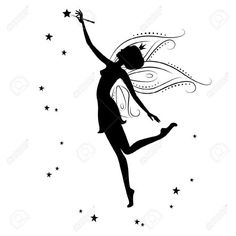 Illustration of Beautiful fairy silhouette vector art, clipart and stock vectors.