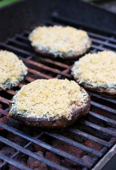 Portabella mushroom caps, stuffed with creamy spinach dip filling, and grilled to perfection.
