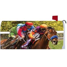 Race Horses Mailbox Cover