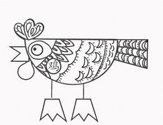 """Cheery little rooster with the Chinese character for """"rooster""""  Crafts for Year of the Rooster: Printable Chinese New Year Projects"""