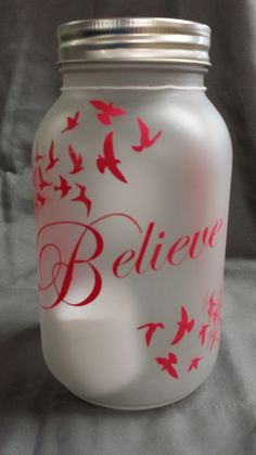 """""""Believe"""" frosted Mason Jar with LED Candle"""
