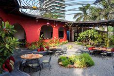 Think of it Restaurant- Surat,Gujarat,India- Studio Lagom Outdoor Restaurant Patio, Cafe Restaurant, Restaurant Design, Restaurant Interiors, Office Interiors, Brick Masonry, Masonry Wall, Brick Face, Cafe Concept