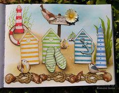 "3.8.2016 Playful art journal page 15 - Sun beach. Distress inks, Hero arts Shadow inks and coloured pencils in Seawhite hardcover art journal (25x19 cm / 10""x7.5""). http://romanassunnycreation.blogspot.ch"