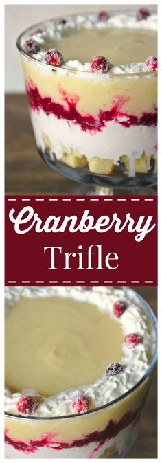 Cranberry Trifle – A gorgeous dessert perfect for Thanksgiving or a Christmas party! Layers of vanilla pound cake, homemade custard, cranberry sauce, and whipped cream! #ad #ServingUpTheSeason @kroger @realreddiwi mariecallenders #cranberry #trifle #dessert #christmas #thanksgiving