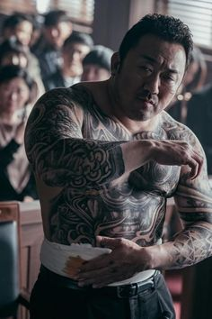 "[Photos] New Ma Dong-seok Stills Added for the Upcoming Korean Movie ""The Gangster, The Cop, The Devil"" @ HanCinema :: The Korean Movie and Drama Database Action Pose Reference, Art Reference Poses, Action Poses, Places To Get Tattoos, Susanoo, Yakuza Tattoo, Samurai Art, Chest Tattoo, Photo Poses"