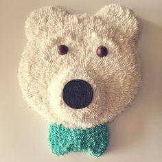 Polar bear cake with bow tie. #polarbear #cake #polarbearcake