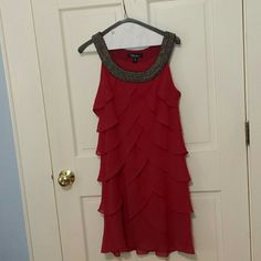 "Fun Flapper Style Dress EUC Great detail on the nexk. I am 5' 4 "" and this hits me at my knee. A bit of a darker red than what the picture shows. S. L. fashions Dresses"