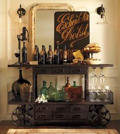 Cool industrial vintage bar cart