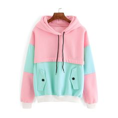 SheIn(sheinside) Color Block Drawstring Hooded Sweatshirt (140 DKK) ❤ liked on Polyvore featuring tops, hoodies, red pullover hoodie, pink pullover hoodie, long sleeve pullover, pink hooded sweatshirt and hooded pullover sweatshirt