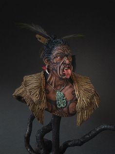 Maori warrior by Konstantin Kapitonov · Putty&Paint Native American Warrior, Native American Indians, Maori Face Tattoo, Sculpture Art, Sculptures, Maori People, Aztec Culture, Maori Designs, Maori Art