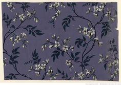 Manufacture Bon. Papier à motif répétitif, branchage de jasmin, 1799 http://peccadille.net/2014/01/27/papier-peint-xviiie-siecle-gallica/