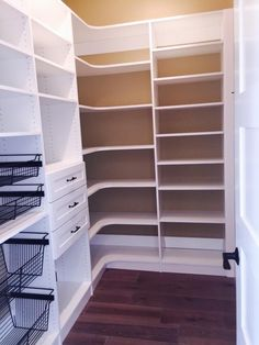 Baskets, drawers, L-shaped storage, and plenty of adjustable shelving. www.closetsstorageandmore.com Servicing Central Texas: Georgetown, Austin, San Antonio, and many more!!