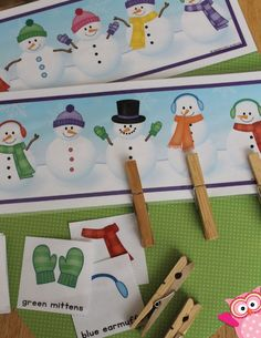 Snowman matching game is a great visual perception activity for kids