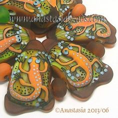Anastasia Lampwork Beads 7 Lizards SRA | eBay http://www.ebay.com/itm/261225544880?ssPageName=STRK:MESELX:IT&_trksid=p3984.m1555.l2649