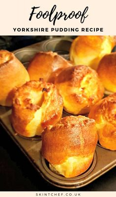 Our Yorkshire pudding recipe is foolproof and it's cheap, quick and easy. It's also super tasty and is an absolute essential for your Sunday roast. Easy Yorkshire Pudding Recipe, Recipe For Yorkshire Pudding, Traditional Yorkshire Pudding Recipe, Roast Beef With Yorkshire Pudding, Yorkshire Recipes, How To Make Yorkshire Pudding, Yorkshire Pudding Batter, Instant Pudding, Puddings