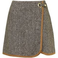 TOPSHOP Tweed Wrap Front Pelmet Skirt (900 MXN) ❤ liked on Polyvore featuring skirts, bottoms, faldas, brown, tweed skirt, brown skirt, topshop skirts, eyelet skirt and brown tweed skirt