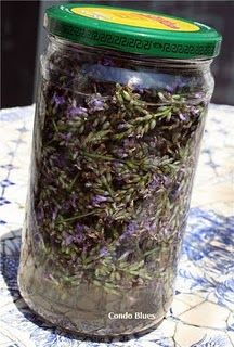Lavender oil essentials.  Too easy.  All you need is lavender buds, vodka {cheap}, 2 coffee filters, and 2 clean jars.  That's it. I am so going to do this since I'm growing lavender and gonna be buying vodka for my homemade vanilla extract!