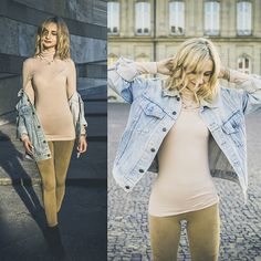 Get this look: http://lb.nu/look/8462329  More looks by Adriana M.: http://lb.nu/lilicons  Items in this look:  Levi's® Vintage Denim Jacket, H&M Basic Nude Top, Cubus Beige Pants, H&M Navy Suede Boots   #minimal #street #vintage #style #fashion #lookbook #lookbooker #today #outfit