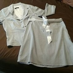 B Darlin Business Suit B Darlin 2 piece dress suit. White and white stripes Skirt has satin ribbon belt that can be removed 9/10 Juniors Skirt measures 21 in top to bottom Jacket does have shoulder pads Super cute for interviews or the office. B Darlin Skirts Skirt Sets