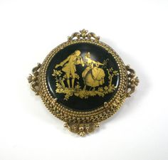 Vintage Victorian Style  Designer  Florenza  Black Glass With Gold Couple  Brooch Pin