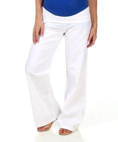 PinkBlush White Linen-Blend Under-Belly Maternity Pants