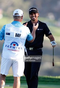 Jason Day of Australia celebrates wiht his caddie after his victory on the second playoff hole during the final round of the Farmers Insurance Open at Torrey Pines South on February 2015 in La. Get premium, high resolution news photos at Getty Images Jason Day, Golfers, Marshalls, Athletes, Victorious, Hot Guys, Eye Candy, Pergola, The Past