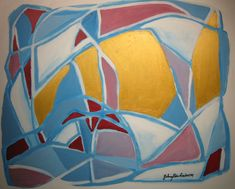 Maleri Gold and blue 81x100 cm