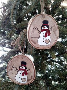 Wood Burned Snowman 2017 Personalized Snowman Ornament