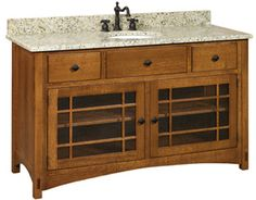 "Amish Outlet Store : Springhill 60"" Vanity in Oak"