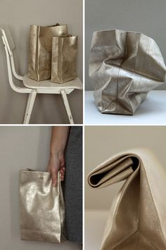 Paper sack style purses made out of a single piece of gold suede.
