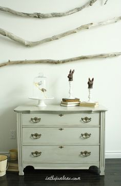Great painted furniture tutorial.  Love the wall sticks too.