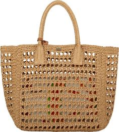 Bolso de rafia en ganchillo de Dolce & Gabbana - Raffia tote, crochet bag by Dolce & Gabbana Polished gold- and silvertone logo plaque at top lineInterior features detachable canvas zip pouch in a tassel motif Rolled top handlesOpen topApproximately heigh Free Crochet Bag, Crochet Shell Stitch, Crochet Clutch, Crochet Handbags, Crochet Purses, Crochet Bags, Women's Handbags, Yeezy Outfit, Dolce & Gabbana