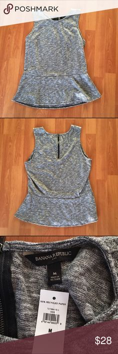 Banana Republic peplum tank Banana Republic. Peplum tank. 51% cotton 49% polyester. Great for work attire. Or just with leggings on a casual day. Brand new with tags still attached. Size medium. Zipper back closure. Banana Republic Tops Tank Tops