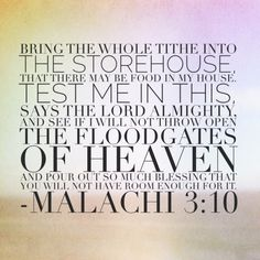 bring the whole tithe into the storehouse